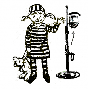 "graphic of small child holding a teddy bear and wearing striped ""jail garb"""