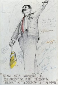 "Cartoon of Reville with big broom and quote ""The man who revels in sweeping"" with many signatures"
