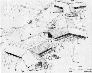 Architect's sketch of small cottages in a park-like setting