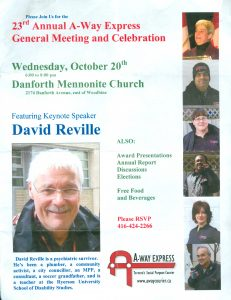 "Flyer advertising ""23rd Annual A-Way Express General Meeting and Celebration"" large photo of keynote speaker David Reville"