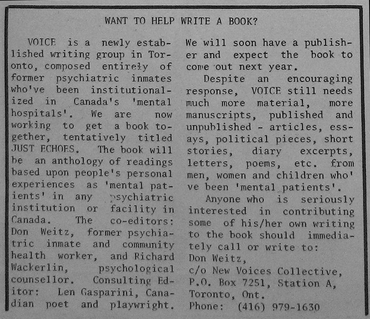 "Ad for Voices that appear in the MPA's In A Nutshell, March 1975, entitled ""Want to Help Write a Book?"""