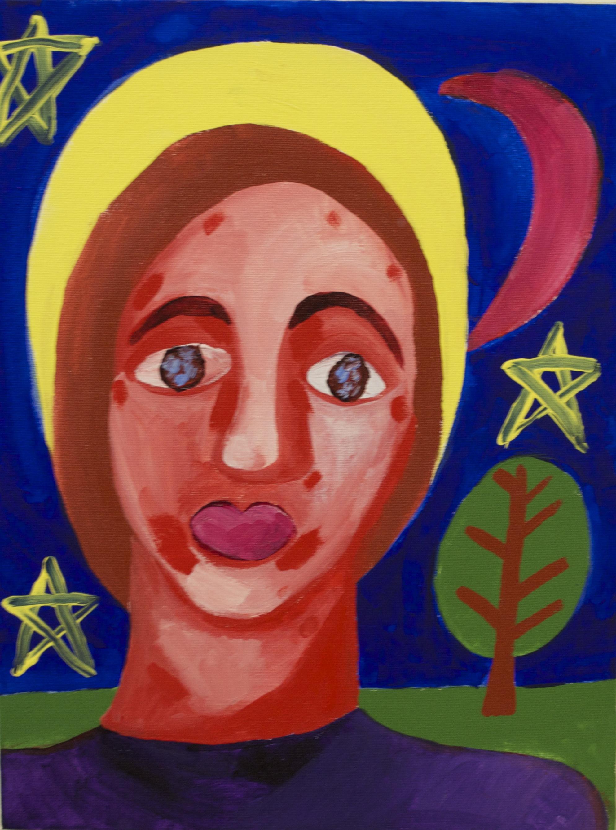 peinture d'une personne, les étoiles et la lune en arrière-plan