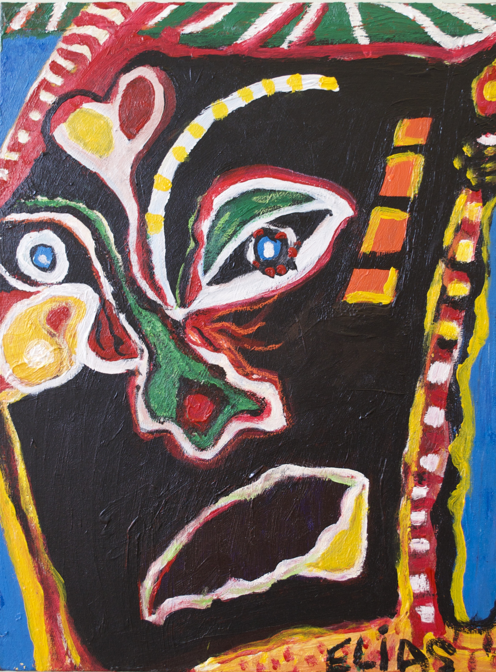 Colourful painting of face