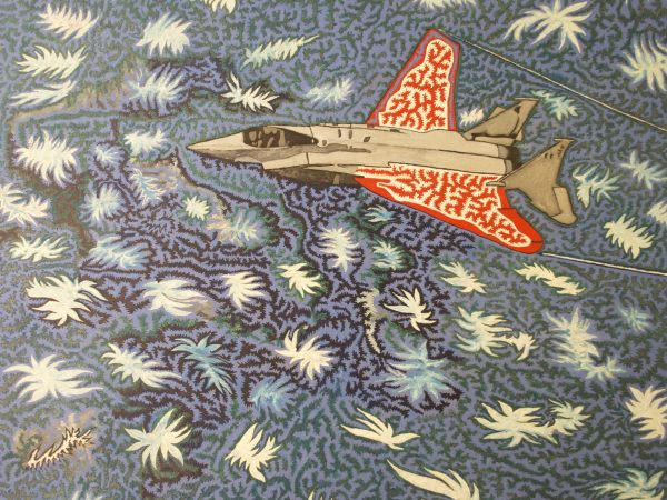 Painting of red plane flying in blue star-filled sky