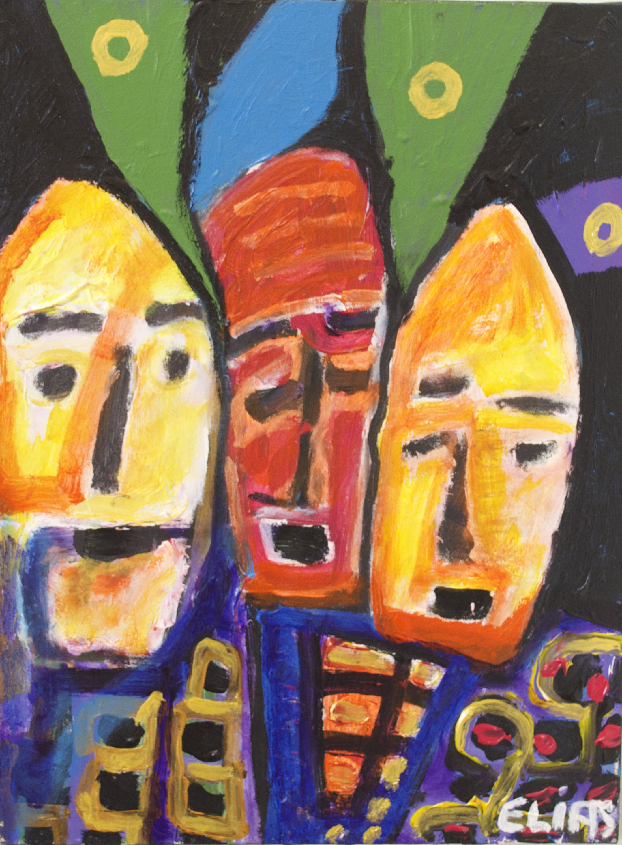 Colourful painting with 3 faces on black background
