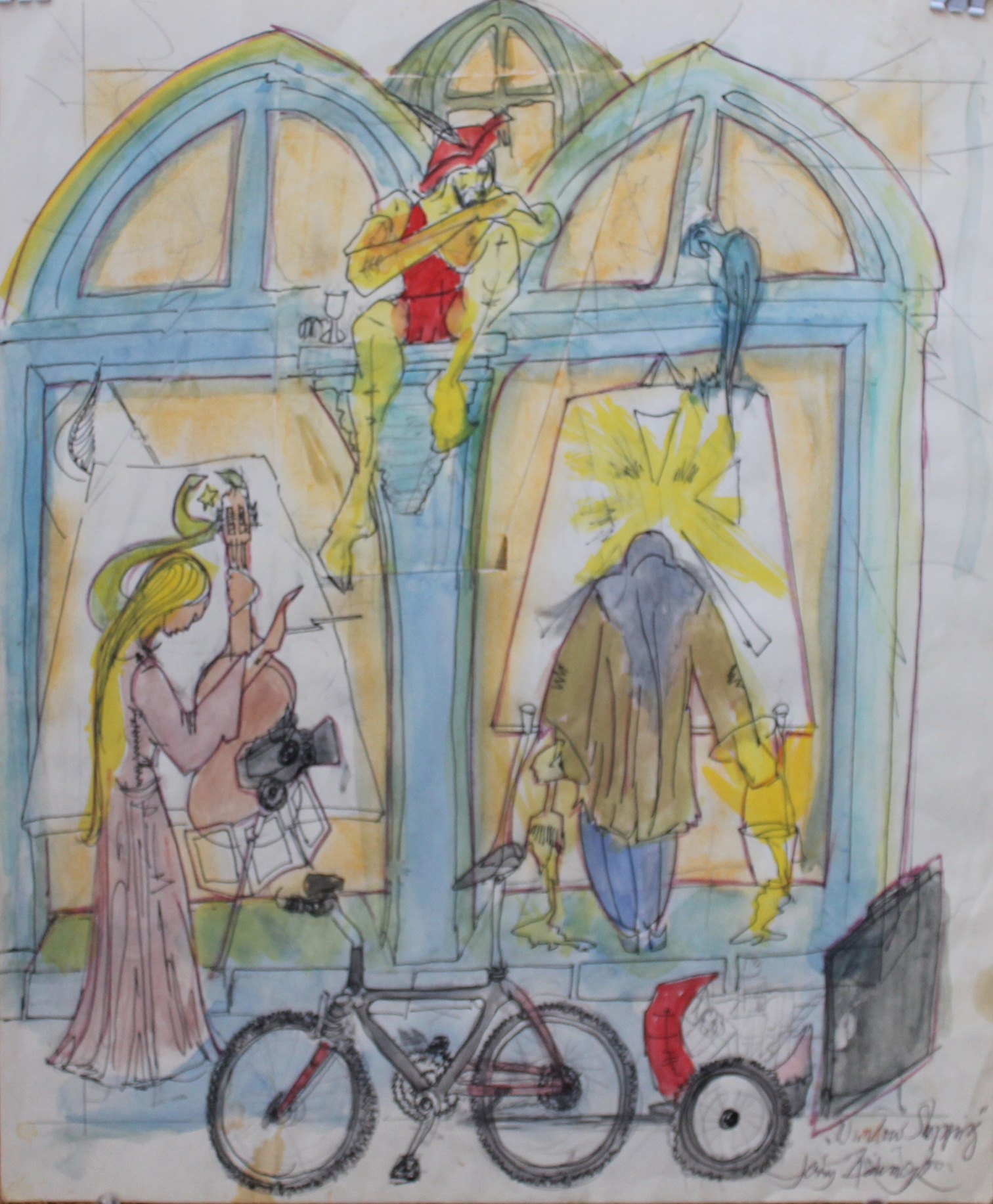 Watercolour painting of PARC façade with bicycle and figures