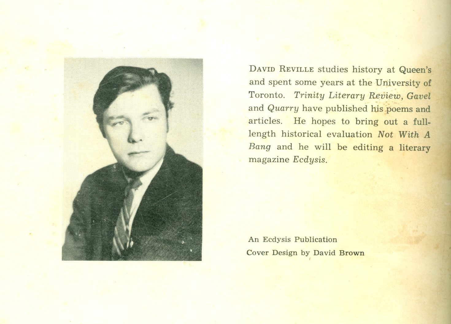 Back jacket photo and bio of a young Reville.