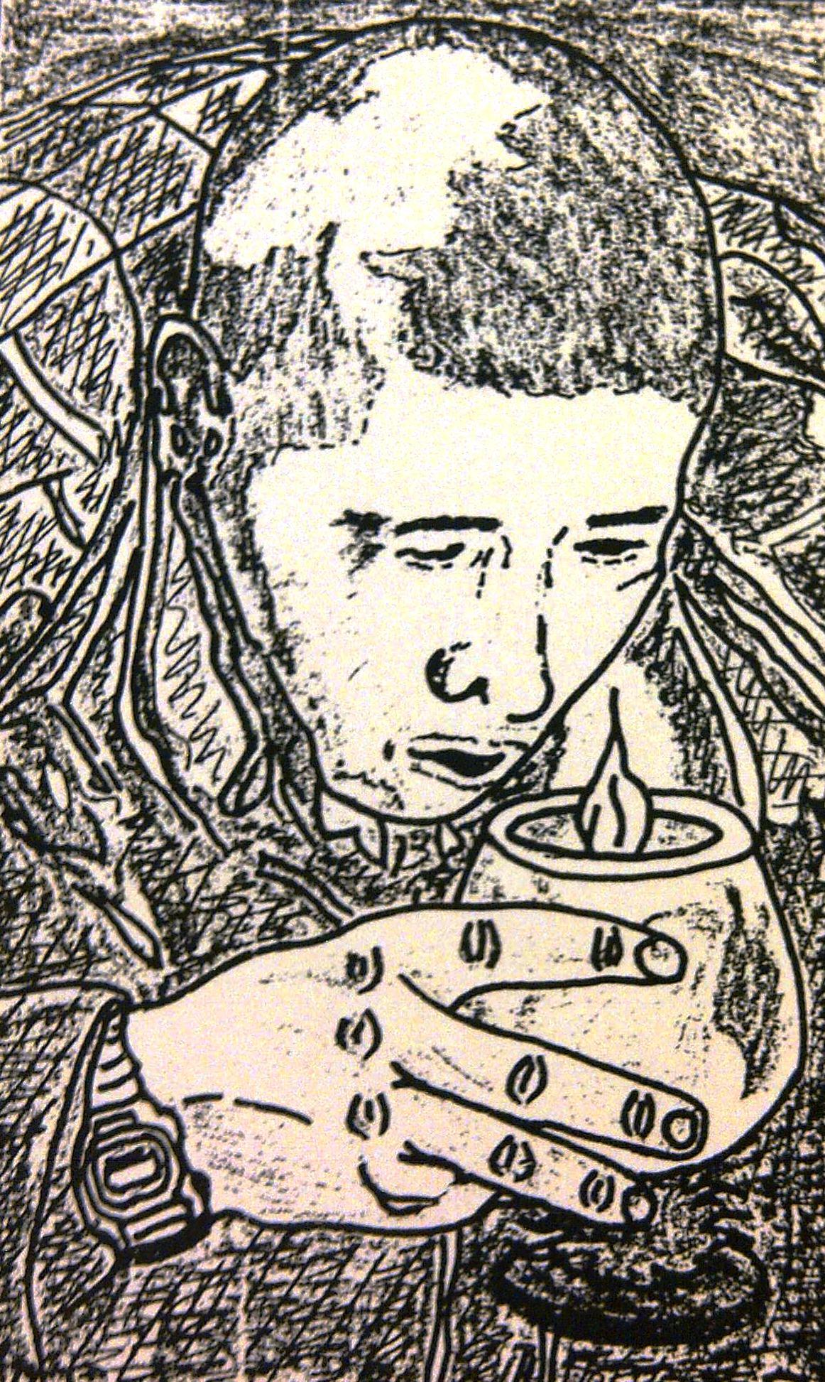 Sketch d'Edmond Yu, vue de haut, une chandelle à la main