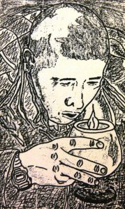 Sketch of Edmond Yu at a nighttime vigil looking downward with a candle in his hands.