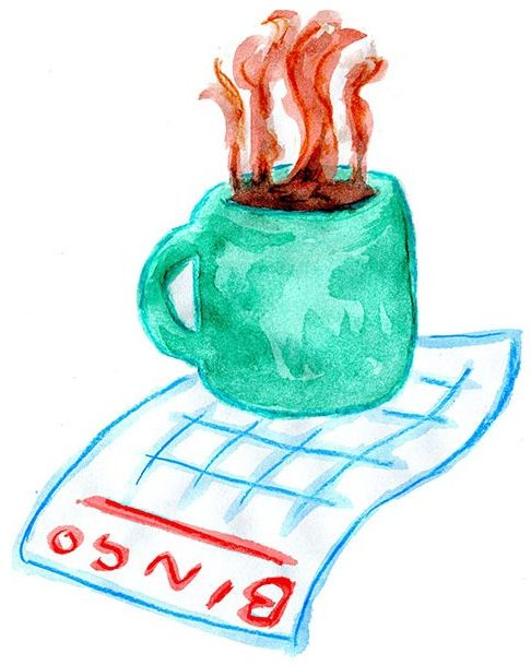 Sketch of Bingo card and hot mug of coffee to take site visitor into Hanging Out at PARC page