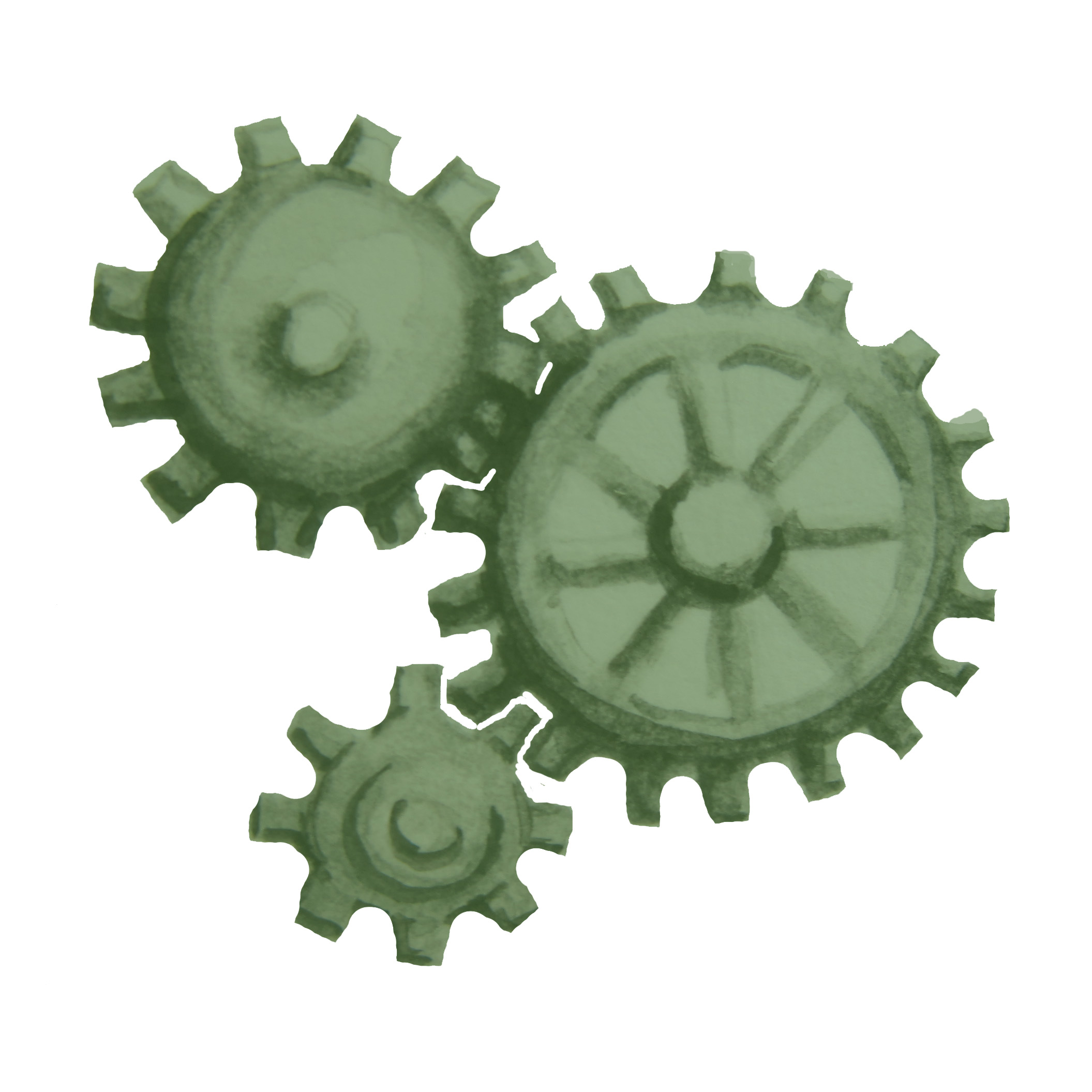 Three green gears working together