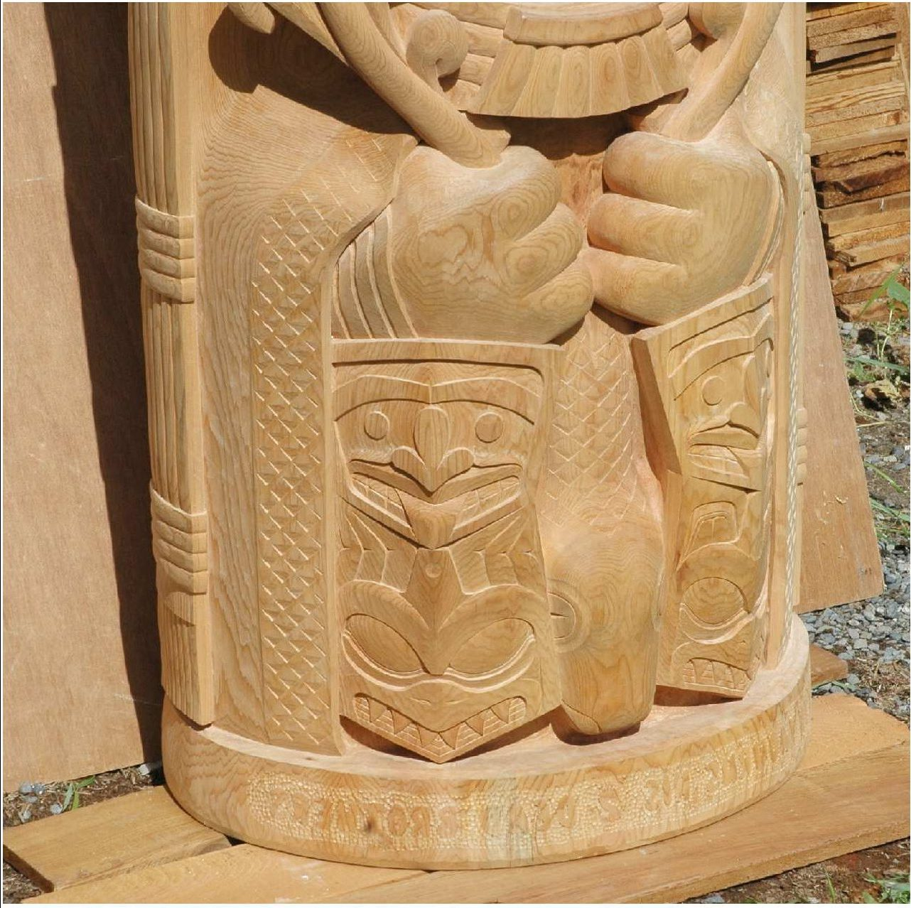 detail from carved wooden totem - 2 coppers