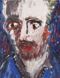 coloured painting of man's face